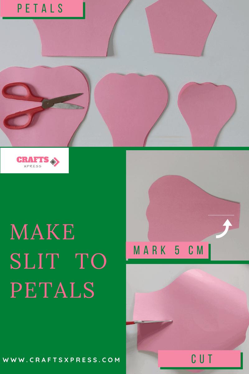 Make slit at the bottom of the petal