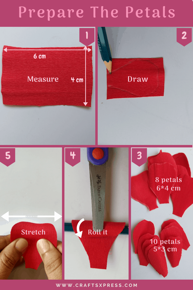 prepare the petals for making a paper rose