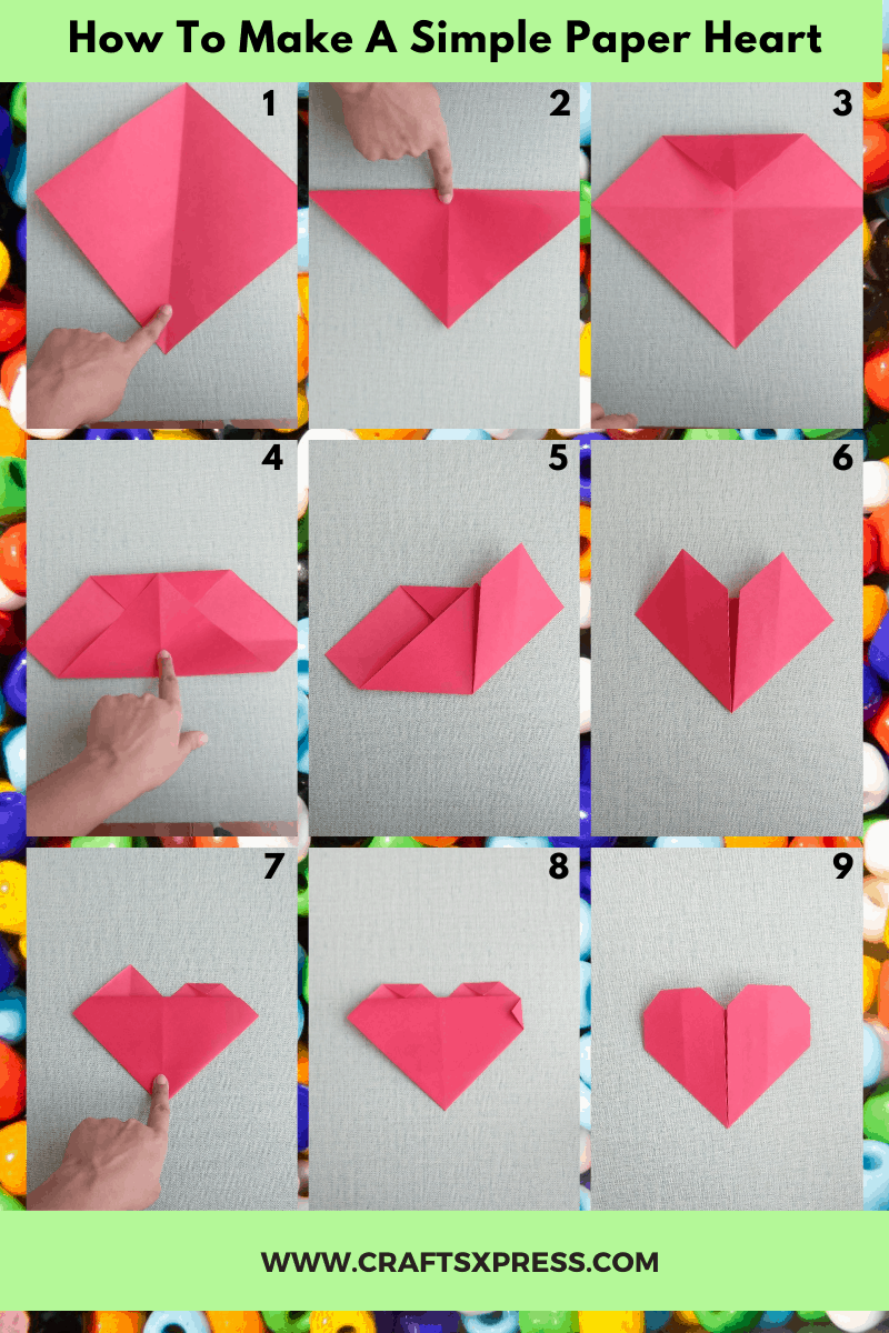 how to make a paper heart with step by step instructions