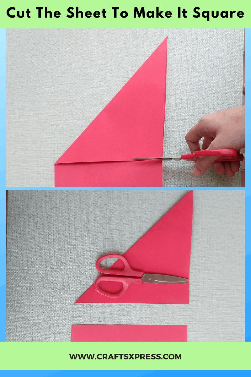 Cut origami sheet to make a squre