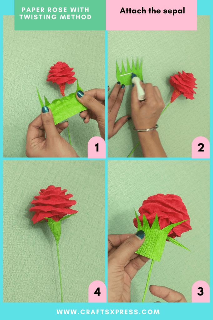 attach the sepal to the paper rose