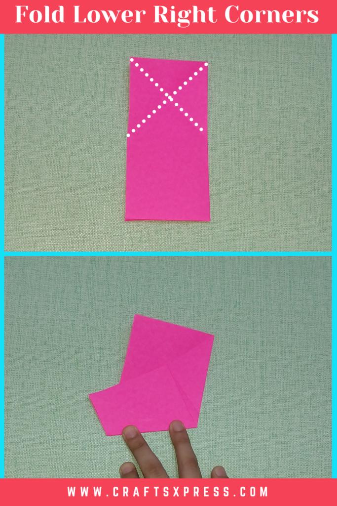 Fold lower right corner